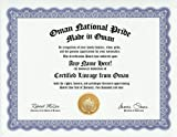 Oman Omani National Pride Certification: Custom Gag Nationality Family History Genealogy Certificate (Funny Customized Joke Gift - Novelty Item)