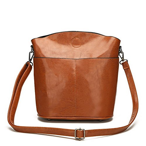 Voguezone009 Party Style Women Bucket Bags Pu Handbags Crossed, Ccaybp181275, Brown Burgundy