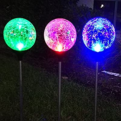 3Pack 3Color Crackle Glass Solar Lights Outdoor Sogrand Solar Garden Lights Solar Path Lights
