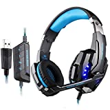 Gaming Headset, GranVela® G9000 7.1 Surround Sound High Performance Stereo Headphone Headset with Microphone (Black+Blue)