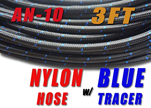 TT Racing AN10 Nylon Stainless Steel Braided Fuel Oil Gas Line Hose -10 AN (5/8