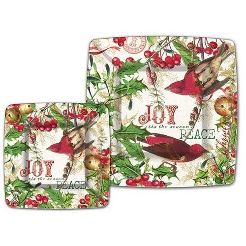 Mistletoe & Holly Luncheon/Dessert Paper Plates
