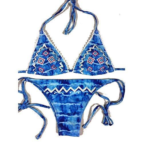 Women's Sexy Two Pieces Bikini Blue String Halter Push up Padded Top & Bottom Bikini Retro Bandage Swimsuit Beach Bikini Swimwear