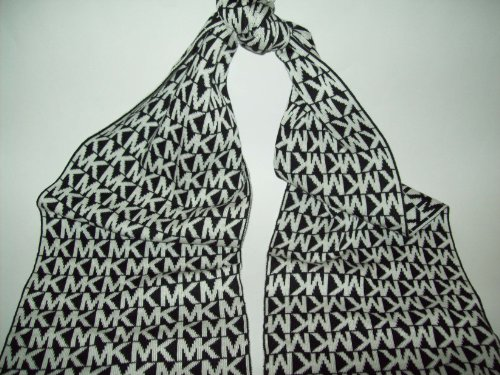 Michael Kors Women's MK Logo Knit Scarf, Black /White, On...