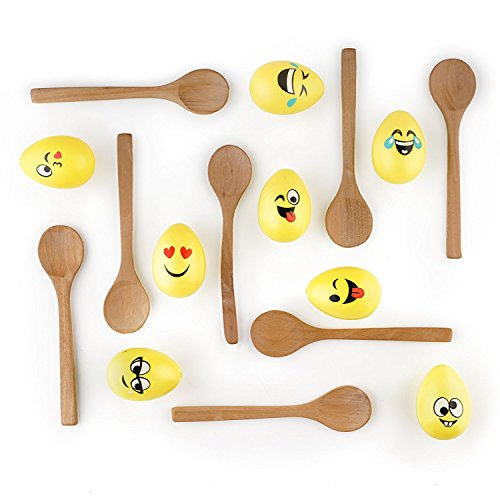 The Twiddlers Egg and Spoon Race Game - 8 Smiley Emoji Eggs 8 Durable Solid Wooden Spoons - Balance Relay Games Family Indoor Outdoor Outings Birthday Party Games - Adults Kids Summer Activity Toy Presents -