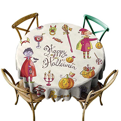 SKDSArts 3D Printed Tablecloth Hand Drawn Doodle Collection of Halloween Elements Suits cha D36,Round Tablecloth
