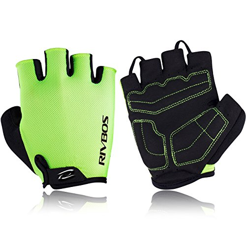 RIVBOS Bike Gloves Cycling Gloves Fingerless for Men Women with Foam Padding Breathable Mesh Fashion Design for Mountain Bicycle Motorcycle Riding Driving Sports CHG001(Neon Yellow L) for $<!--$9.98-->