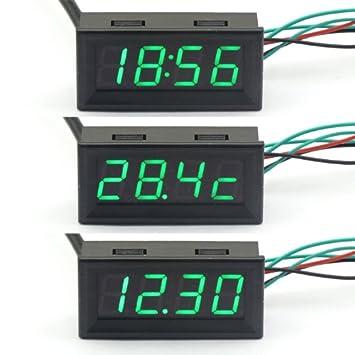 DEOK Juego de reloj, termómetro y voltímetro 3 en 1 para coche (digital, 12 V, luz led): Amazon.es: Electrónica