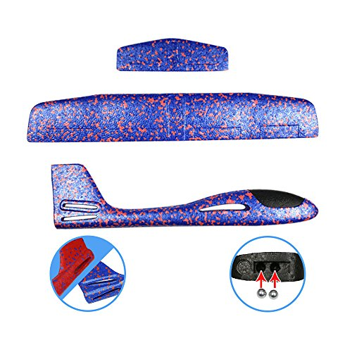 ONEGenug 2pcs Airplane Outdoor Sports Toy, Manual throwing, Model Foam Glider Outdoor Fun, Blue & Orange Color, Upgrade Large Size by ONEGenug (Image #6)