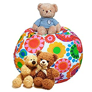 EDCMaker Perfect Storage Organizer for Kids Toy, Quickly Stuffable Storage Anything Soft, Amazing Storage Solution for Durable Beanbags Cover, Sunflower - 38""
