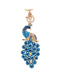 JOUDOO Peacock Keychain with Rhinestone for Bags or Purse