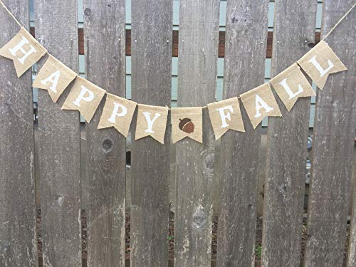 (Happy Fall, Autumn Bunting, Burlap Banner, Thanksgiving, Holiday)