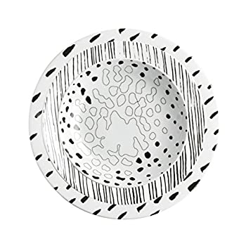 Image of iSi Mix MIX019 City Dinner Plate Set, Presentation/Plate/Bowl, Black White Porcelain with Decorations Dinner Plates