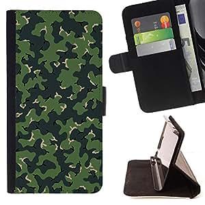 - CAMO CAMOUFLAGE GREEN PATTERN - - Prima caja de la PU billetera de cuero con ranuras para tarjetas, efectivo desmontable correa para l Funny HouseFOR HTC One M7