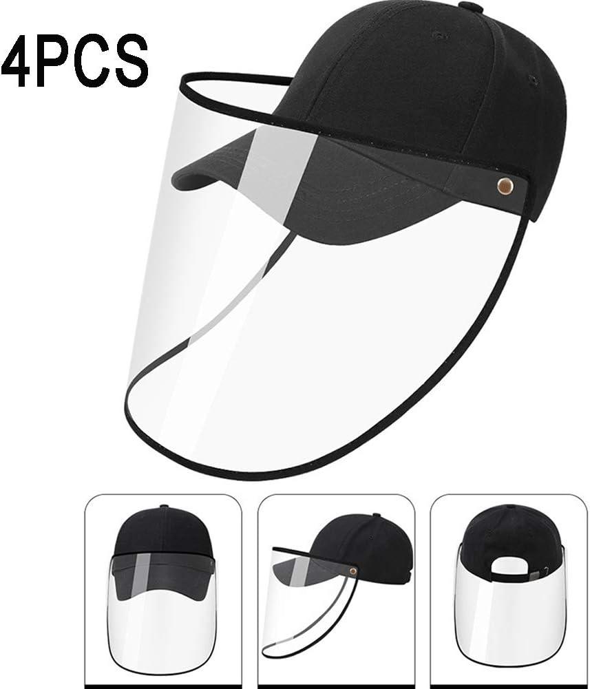 Anti UV Anti-Spittle Baseball Cap W//Removable Klar Isolation Abdeckung Ganzgesichtsschutzschild F/ür Erwachsene Kinder HHORD 4PCS Gesichtsschutzschild Bucket Hut