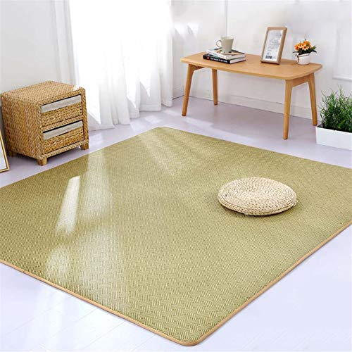 Insun Non Slip Memory Foam Summer Japanese Rattan Tatami Mat Sleeping Mattress for Living Room,Light Green,5.3'x7.9'