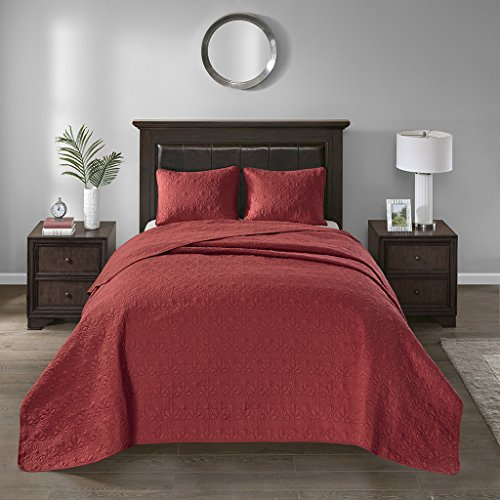 Quilted Bedding Collection (Madison Park Quebec King Size Quilt Bedding Set - Red , Damask – 3 Piece Bedding Quilt Coverlets – Ultra Soft Microfiber Bed Quilts Quilted Coverlet)