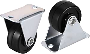 """uxcell Caster Wheels 1"""" Rubber with Top Plate 11LBS Capacity for Furniture Carts Workbench, Black, Pack of 2"""