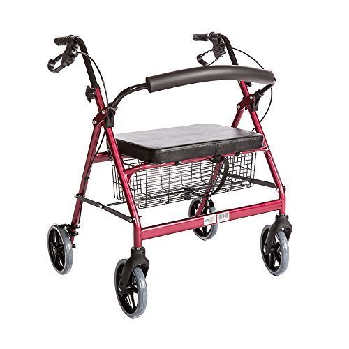 Bariatric Rollator Walker Heavy Duty with Large Padded Seat up to 400 Lb Capacity (Red) 51KuD1zTtGL