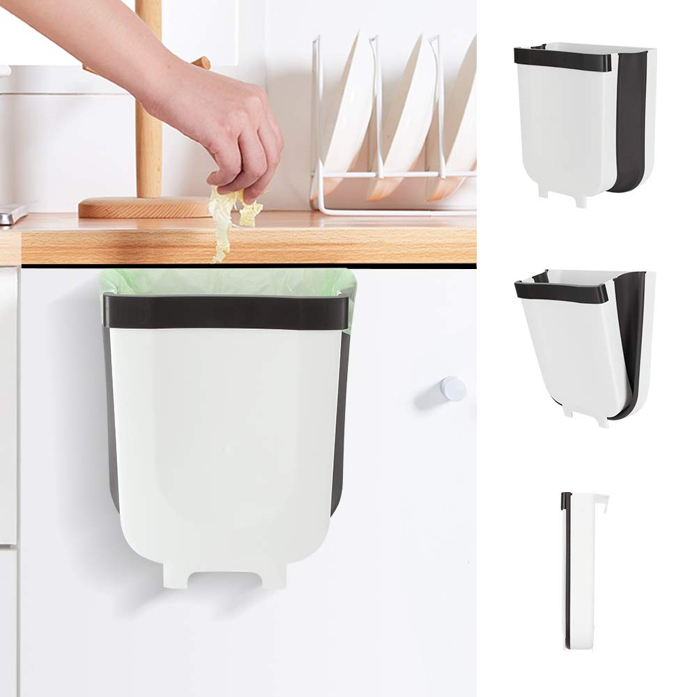 Kitchen Hanging Trash Can Yibaision Foldable Trash Bin 9 Liter / 2.3 Gallon Portable Home & Outdoor Garbage Can