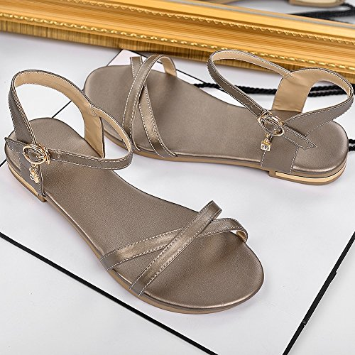 YORWOR Bohemia Planas Sandalias Para Mujer Gold