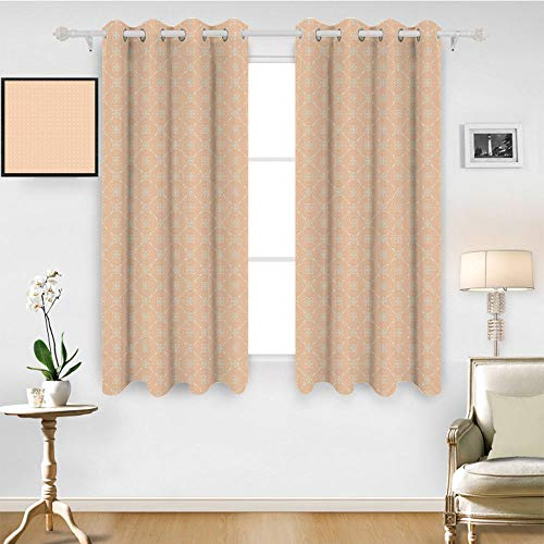 SATVSHOP Patterned Drape for Glass Door - 72W x 108L Inch- Waterproof Window Curtain.Modern Diagonal Checked Pattern with Crossed Oval Shap and Dotted Lin Minimalist Tile Salmon White.