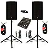 """Mackie THUMP12 Powered 12"""" Loudspeakers with Bluetooth Mixer Mics and Stands 2000 Watts"""