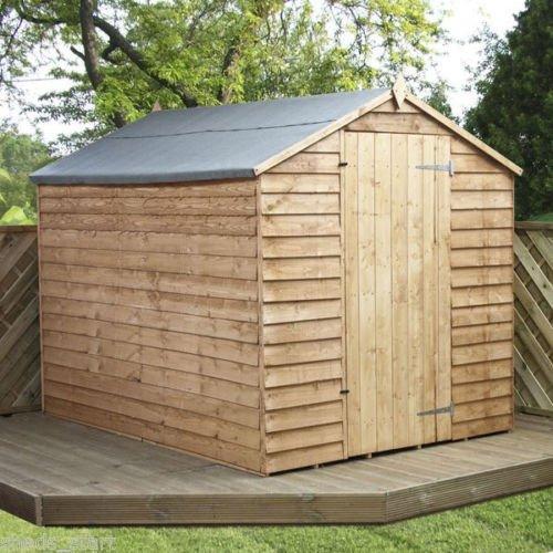 8×6 Overlap Wooden Windowless Apex Garden Shed – Single Door & Felt Included – By Waltons