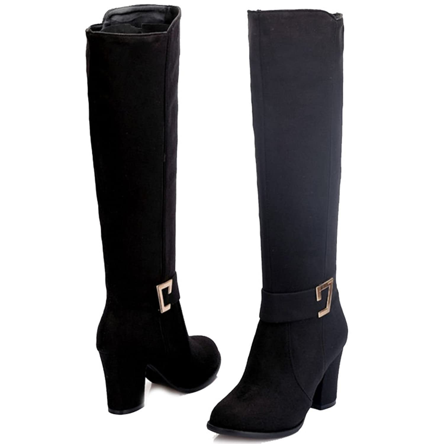 SJJH Women Knee-High Boots with Chunky Heel and Suede Material Women Boots  with Large Size and 3-colors Available: Amazon.co.uk: Shoes & Bags