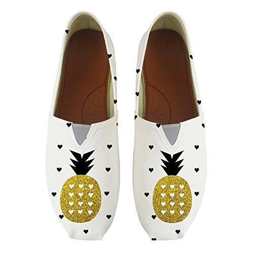Casual On for Classic Pineapple Youngerbaby Slip Sneaker Canvas Print Fashion Shoes Women vWwExx6BZ8