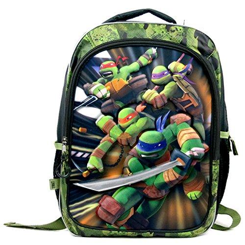 Teenage Mutant Ninja Turtles School Backpack with 3-D Foam Image of Leonardo, Michelangelo, Raphael & Donatello Plus 2 Compartments, 2 Side Pocket, Name Tag Pocket & Adjustable Padded Shoulder Straps