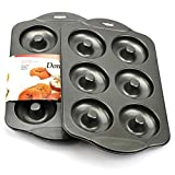 Donut Pan, Nonstick Mini Donut Hole Pan Stainless Steel with 6 Count - Silver Gray (Pack of 2)