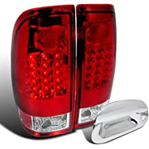 Ford F250 Super Duty Red/Clear LED Tail Lights+Chrome Tailgate Handle Cover