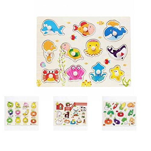 [해외]KOZEEY 4 세트 원목 퍼즐 베이비 유아 취학 전 어린이 교육 완구 / KOZEEY 4 Sets Wooden Jigsaw Puzzle Baby Toddler Preschool Kids Educational Toys
