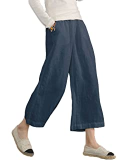 Minetom Mujer Casual Algodón Lino Harem Pantalones Oficina Deportivos Yoga Moda Elegantes Elástico Pantalon Capri Pants