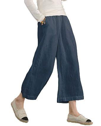 2c0b23c92656e Minetom® Women s Casual Loose Harem Plus Size Elastic Waist Cotton Linen  Trouser Ladies Cropped Wide