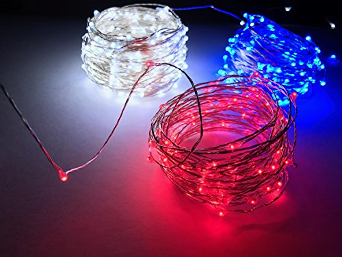 ultra bright red white and blue 33 ft fairy usb powered led firefly string lights set waterproof indoor or outdoor lights for christmas holidays and - Red White And Blue Christmas Lights