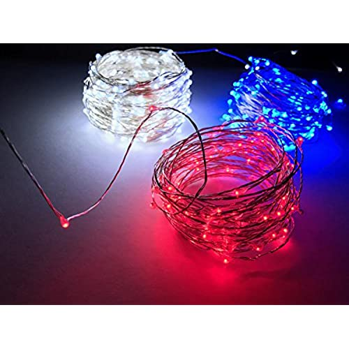 cincy illumination red white and blue 33 ft fairy string lights usb multiple firefly mode powered led with remotes
