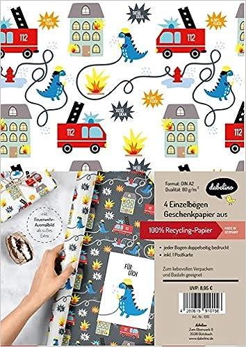 4x Einzelb/ögen Geschenkpapier-Set f/ür Kinder Dinosaurier 1x Postkarte