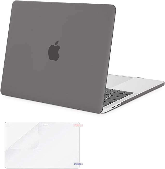 MOSISO MacBook Pro 13 inch Case 2019 2018 2017 2016 Release A2159 A1989 A1706 A1708, Plastic Hard Shell Case&Screen Protector Compatible with MacBook Pro 13 inch with/Without Touch Bar, Gray