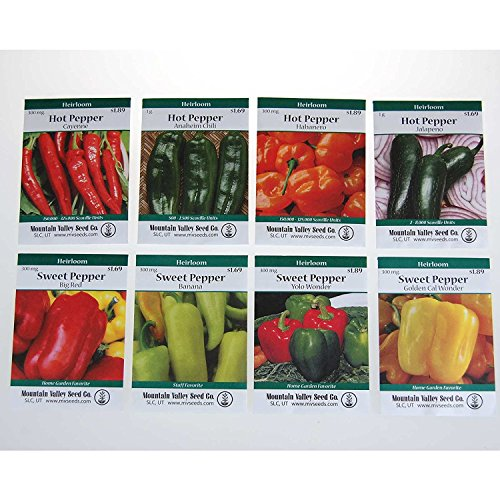 Heirloom Sweet & Hot Pepper Garden Seed Collection - Non-GMO: 8 Varieties - Big Red, Anaheim Chili, Habanero, Jalapeno, Cayenne, (Recipes Habanero Peppers)