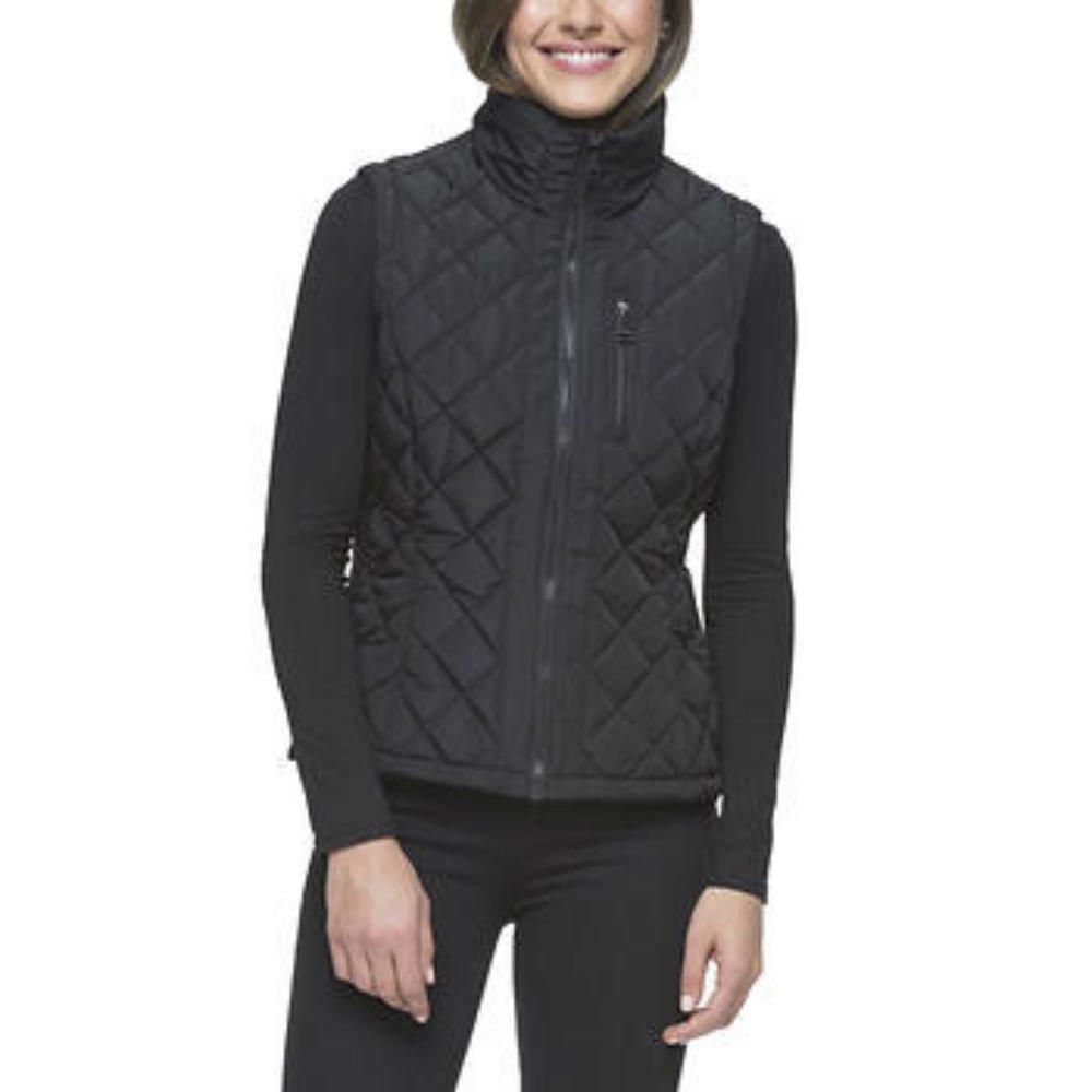 Andrew Marc Ladies/' Quilted Vest Cement Black Medium