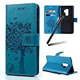 Galaxy S9 Plus Stand Case,Samsung Galaxy S9 Plus Wallet Case,Galaxy S9 Plus 2018 PU Leather Case,SKYMARS Cat Tree Embossed PU Leather Flip Kickstand Cards Slot Cash Pockets Wallet Magnetic Closure Book Style Shockproof Case for Samsung Galaxy S9 Plus 2018 Tree Blue