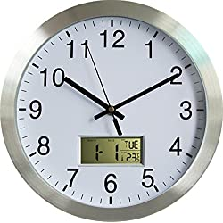 YUSOUND Home Decor Non-ticking Metal Calendar Wall Clock with LCD Date, Week, Temperature, 12 Inch(Silver)
