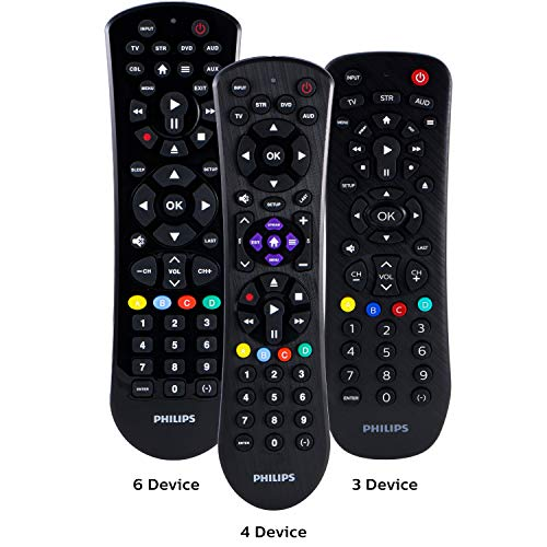Philips Universal Remote Control for Samsung, Vizio, LG, Sony, Sharp, Roku, Apple TV, RCA, Panasonic, Smart TVs, Streaming Players, Blu-ray, DVD, Simple Setup, 4-Device, Black, SRP9243B/27 (Philips Universal Remote Control Codes For Lg Tv)