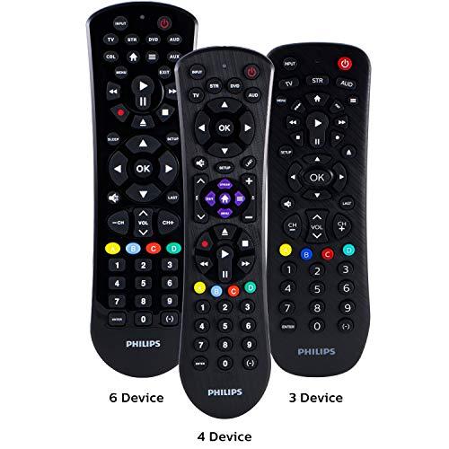 Philips Universal Remote Control for Samsung, Vizio, LG, Sony, Sharp, Roku, Apple TV, RCA, Panasonic, Smart TVs, Streaming Players, Blu-ray, DVD, Simple Setup, 4-Device, Black, SRP9243B/27 (Onn Universal Remote Codes For Emerson Tv)