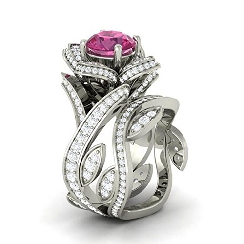 Pink Sapphire Flower Ring - 3.00 Ct Round Cut Lab Created Simulated Diamond and Pink Sapphire Flower Lotus Engagement Wedding Bridal Set Ring 14k White Gold Plated