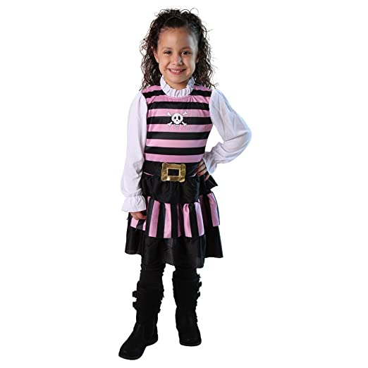 Girls Pink & Black Stripes Pirate Mate Costume Dress, Size 6/8