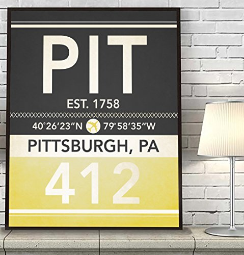 Pittsburgh Pennsylvania Vintage Airport Area Code Map Coordinates Subway Art Print, UNFRAMED, Customized Colors, Christmas Father's Day Housewarming gift home decor poster, ALL - Map Pittsburgh Airport