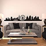 London Skyline Wall Decal City Cityscape Travel Vacation Destination Vinyl Wall Art Sticker (Small, Black)